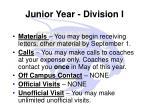 junior year division i
