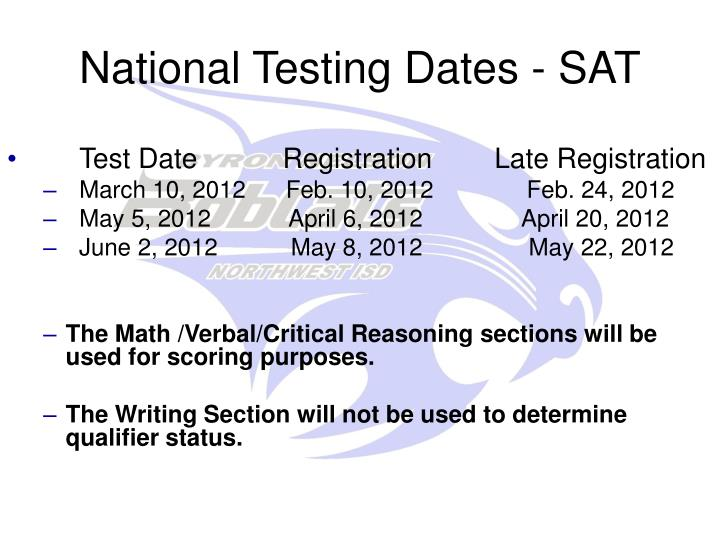 National Testing Dates - SAT