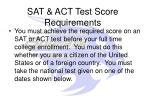 sat act test score requirements
