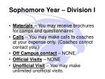 sophomore year division i