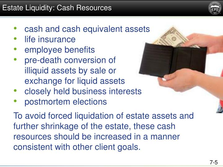 Estate Liquidity: Cash Resources