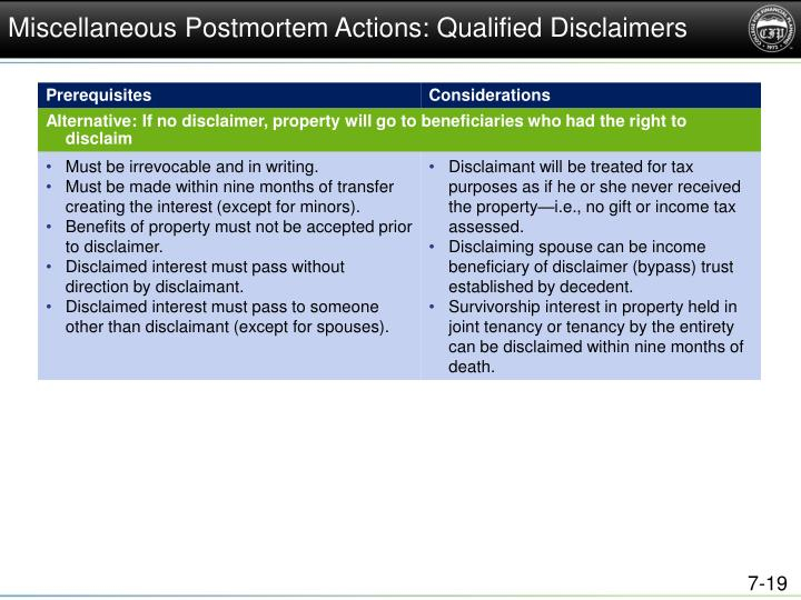 Miscellaneous Postmortem Actions: Qualified Disclaimers