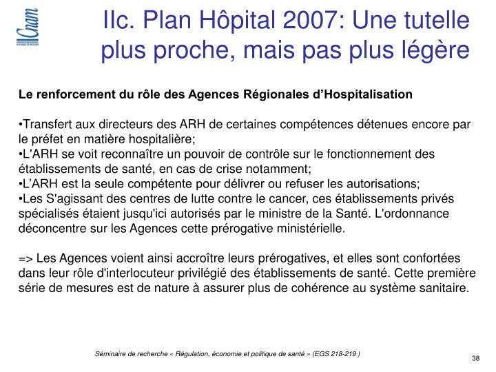 IIc. Plan Hôpital 2007: Une tutelle plus proche, mais pas plus légère