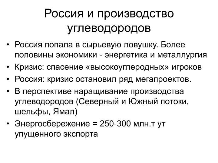 Россия и производство углеводородов