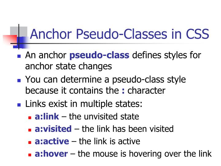 Anchor Pseudo-Classes in CSS