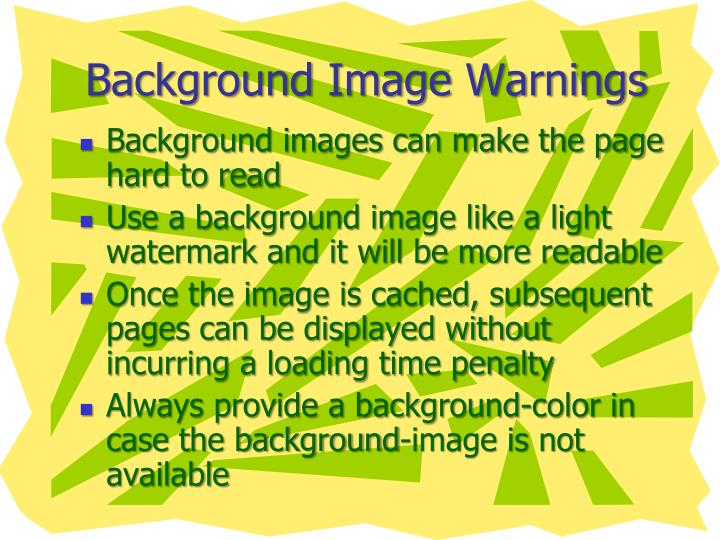Background Image Warnings