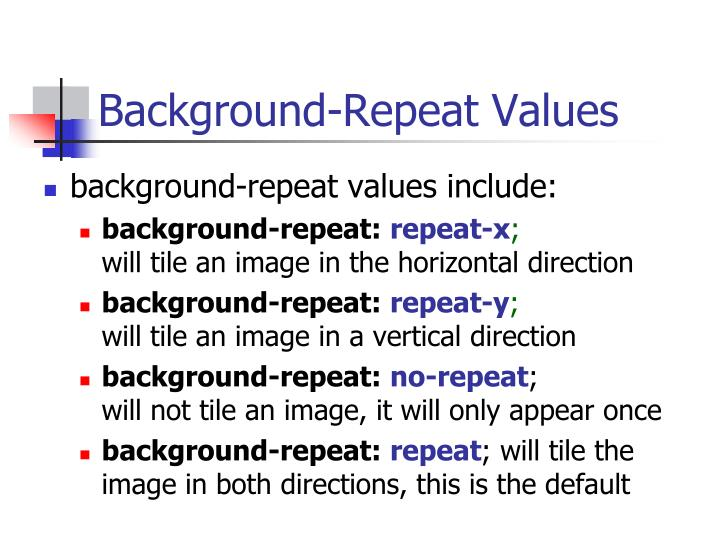 Background-Repeat Values