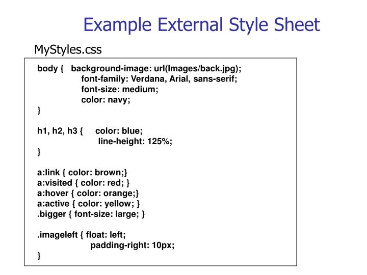 Example External Style Sheet