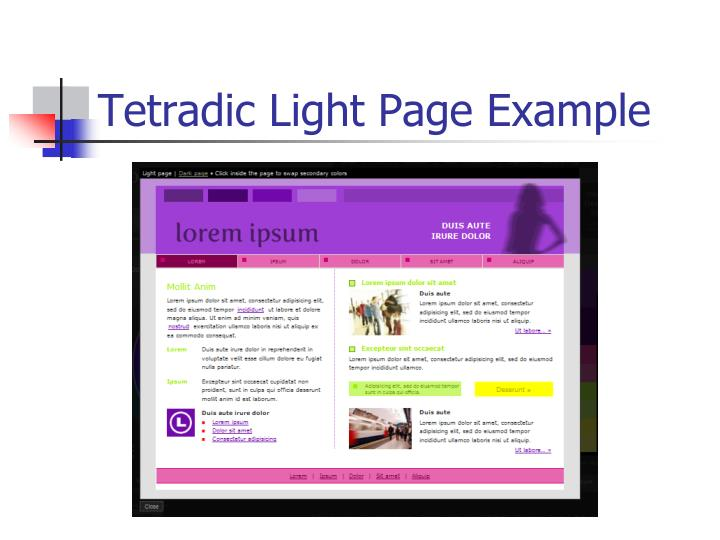 Tetradic Light Page Example