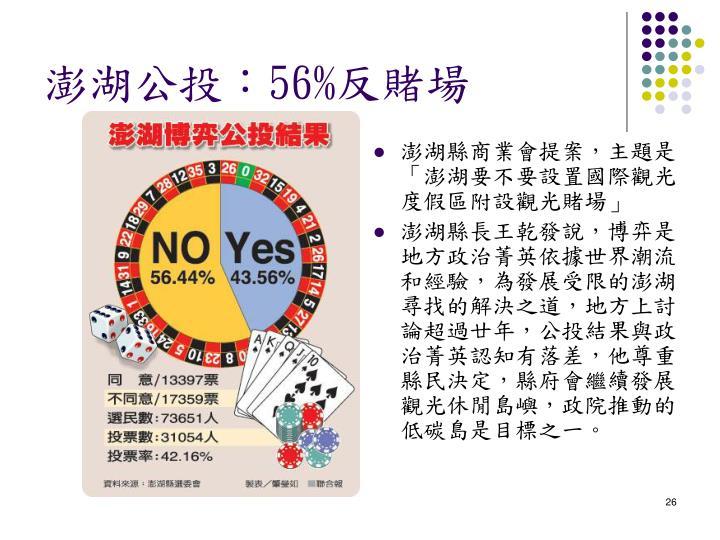 澎湖縣商業會提案,主題是「澎湖要不要設置國際觀光度假區附設觀光賭場」