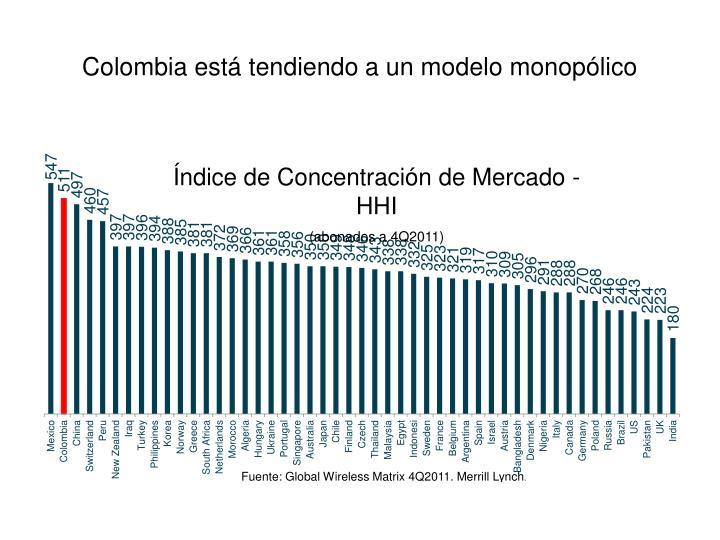 Colombia está tendiendo a un modelo monopólico