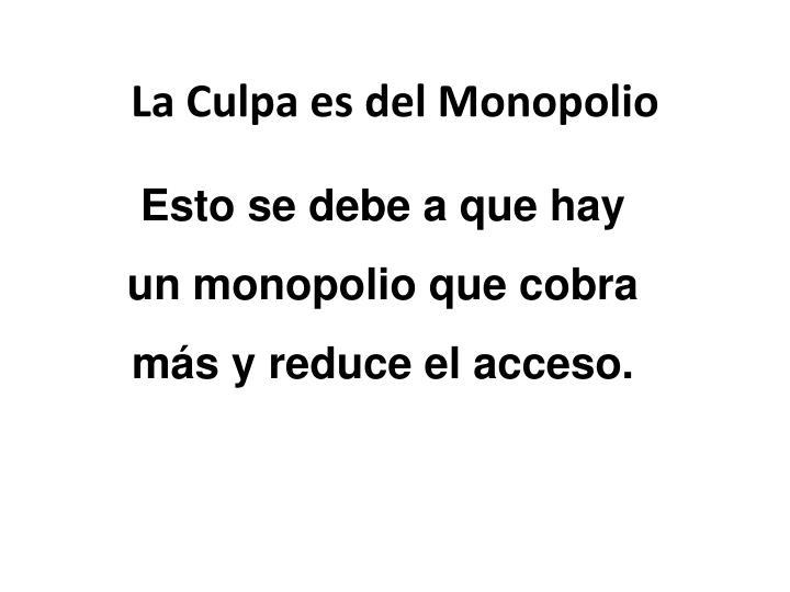 Esto se debe a que hay un monopolio que cobra más y reduce el acceso.