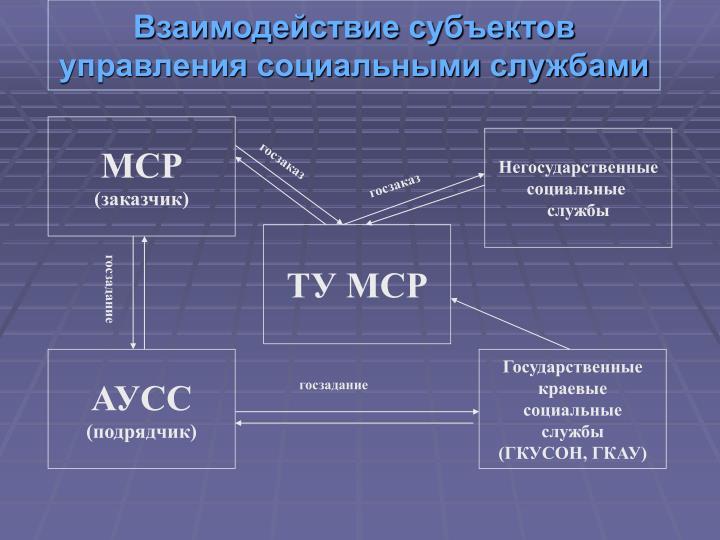 Взаимодействие субъектов управления социальными службами