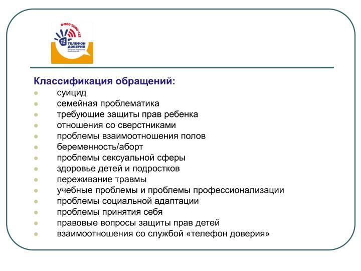 Классификация обращений: