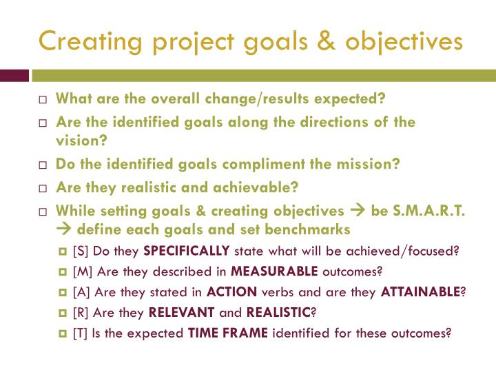 Creating project goals & objectives