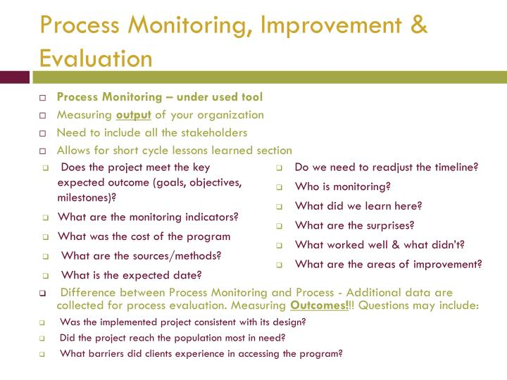 Process Monitoring, Improvement & Evaluation