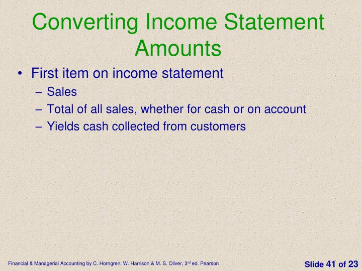 Converting Income Statement Amounts
