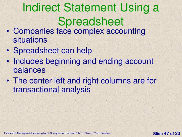Indirect Statement Using a Spreadsheet