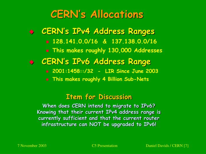 CERN's Allocations