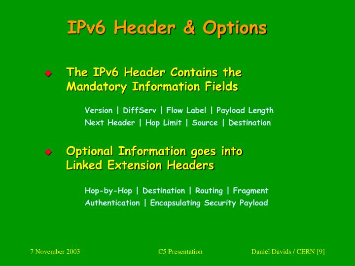 IPv6 Header & Options