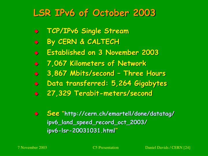 LSR IPv6 of October 2003