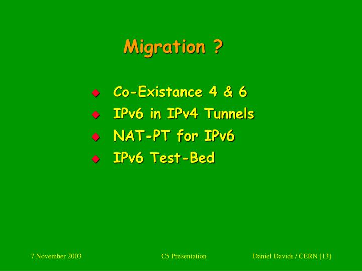 Migration ?