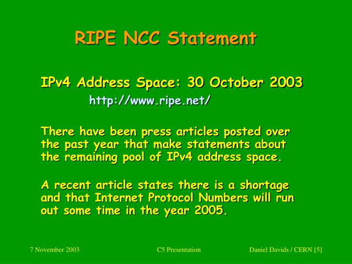 RIPE NCC Statement