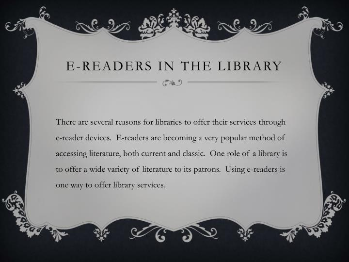 E readers in the library1