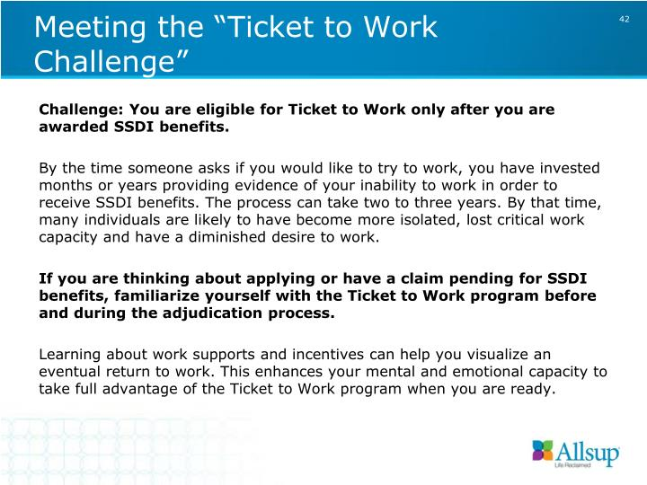 "Meeting the ""Ticket to Work Challenge"""