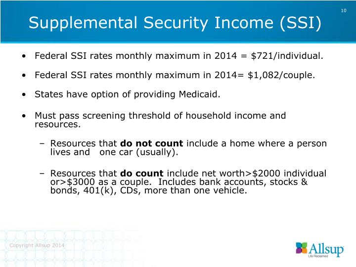Federal SSI rates monthly maximum in 2014 = $721/individual.