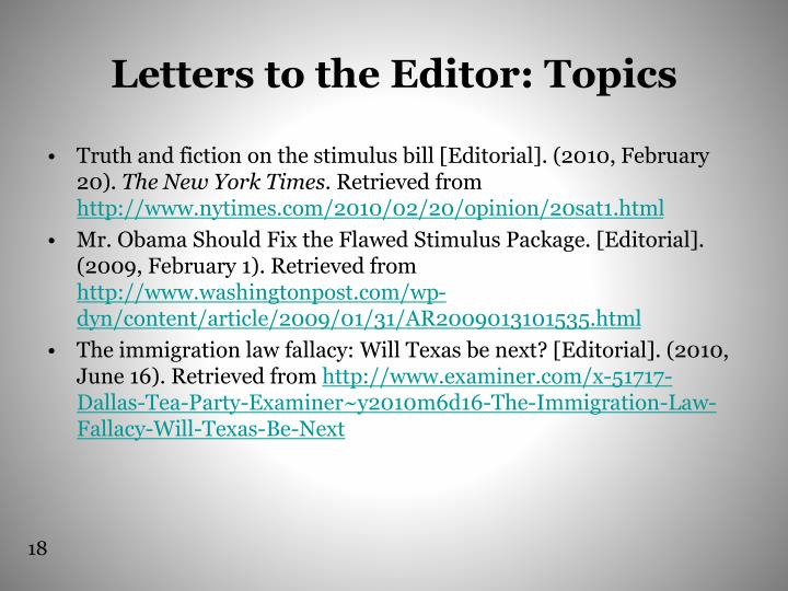 Letters to the Editor: Topics