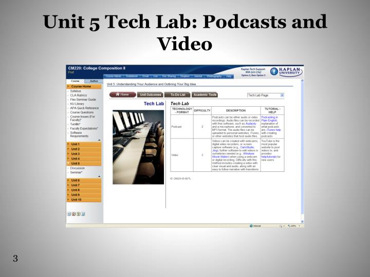 Unit 5 tech lab podcasts and video
