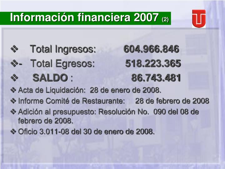 Información financiera 2007
