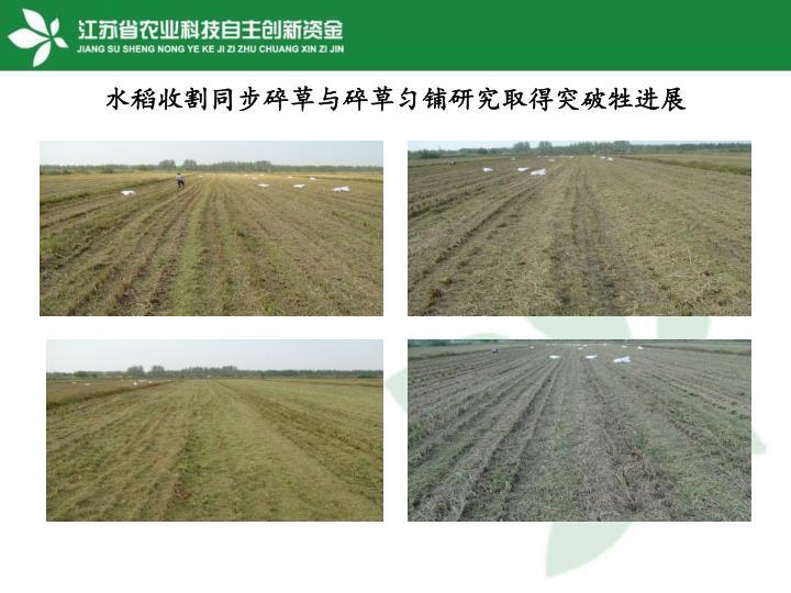 水稻收割同步碎草与碎草匀铺研究取得突破牲进展