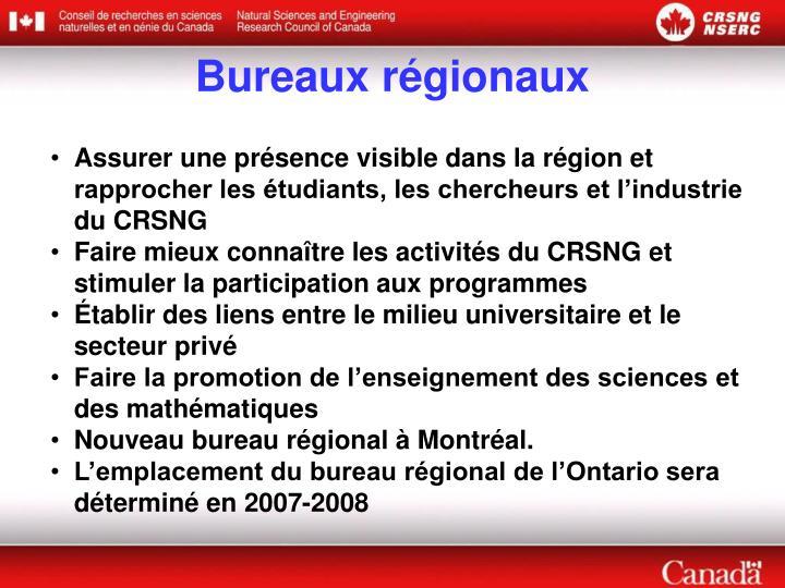 Bureaux régionaux