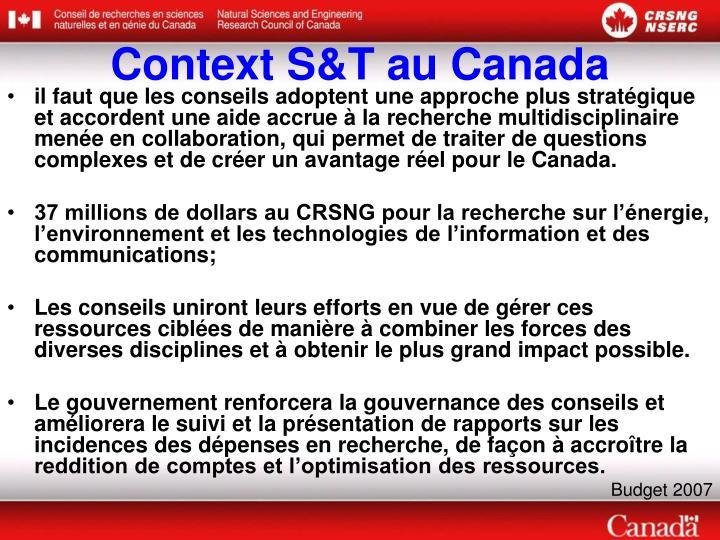 Context S&T au Canada