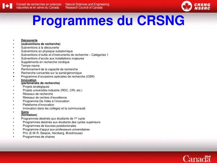 Programmes du CRSNG