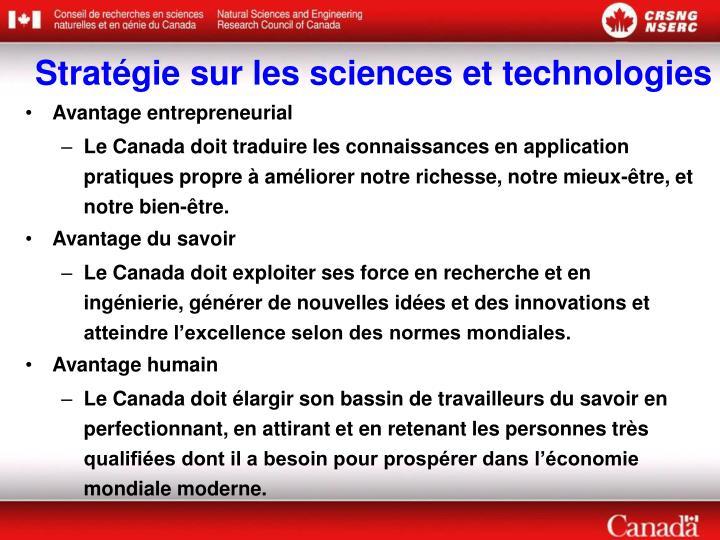 Stratégie sur les sciences et technologies
