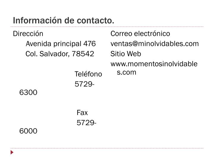 Información de contacto.