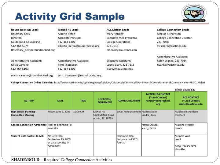 Activity Grid Sample