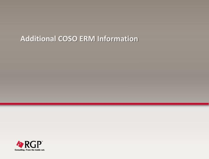Additional COSO ERM Information