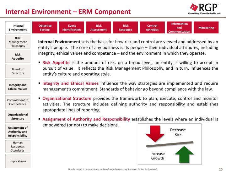 Internal Environment – ERM Component