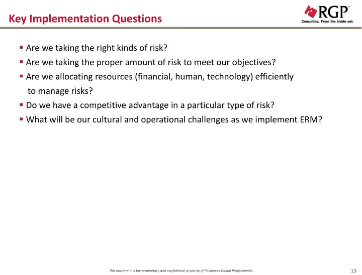 Key Implementation Questions