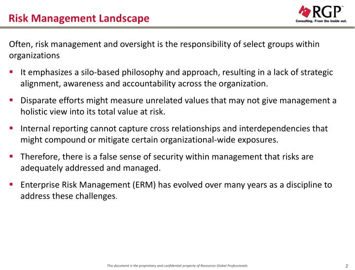 Risk management landscape
