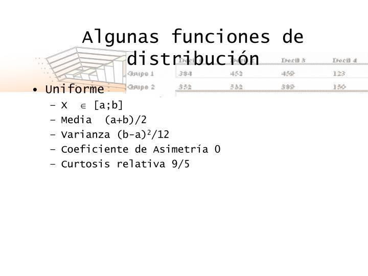 Algunas funciones de distribución