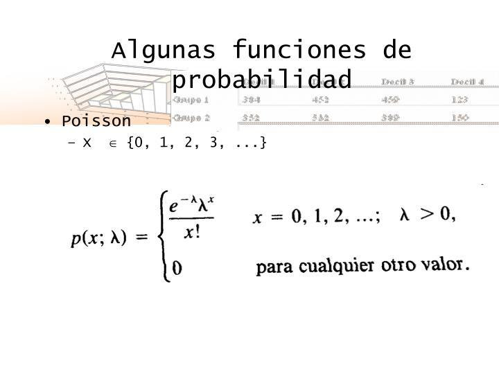 Algunas funciones de probabilidad