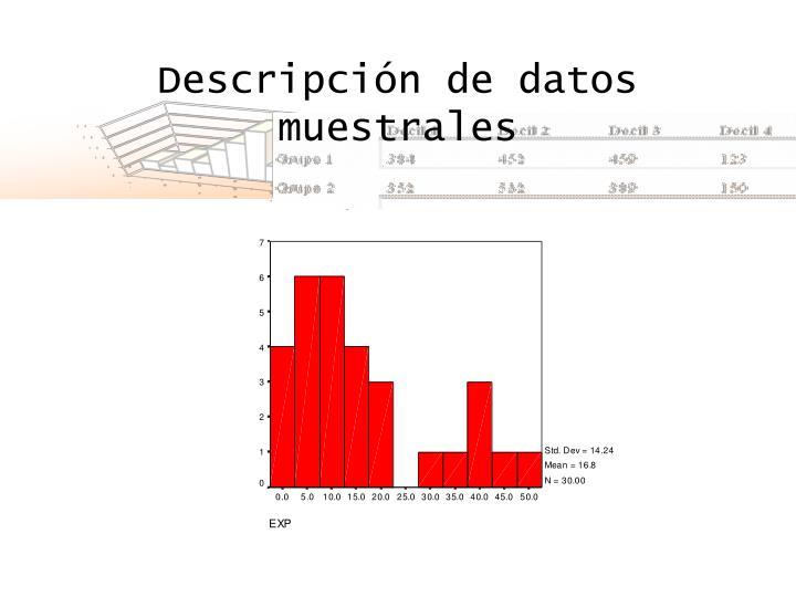 Descripción de datos muestrales