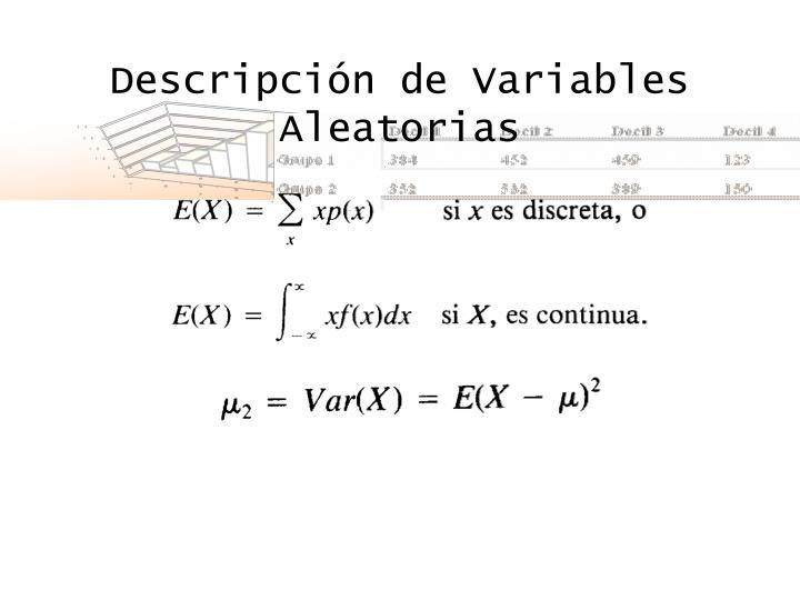 Descripción de Variables Aleatorias