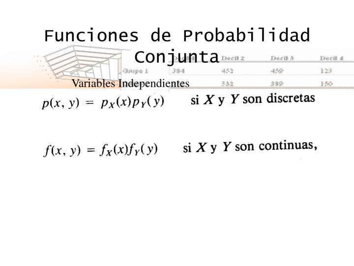 Funciones de Probabilidad Conjunta