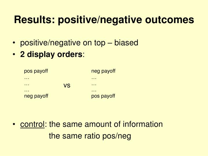 Results: positive/negative outcomes